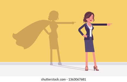 Super businesswoman in hero pose. Successful female manager admired for courage, outstanding business achievements with shadow waving cloak, excessive pride and self-satisfaction. Vector illustration