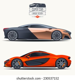 Super car design concept. Unique modern realistic art. Generic luxury automobile. Car presentation side view