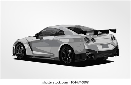 super car japan famous action fast speed race vector template creative illustration isolated