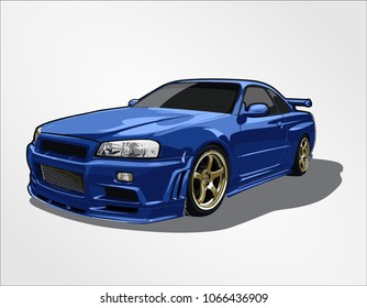 super car japan famous action fast speed race vector template creative illustration isolated blue