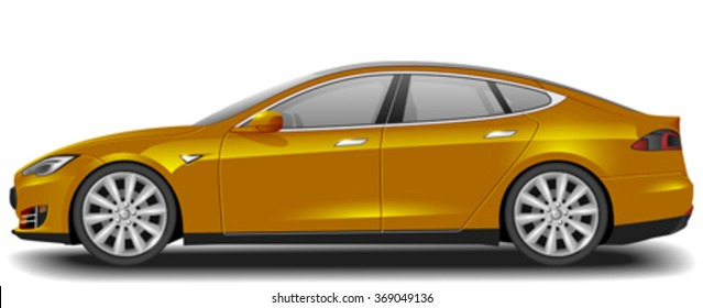 Super car realistic art side view. Generic automobile. One click for color change.