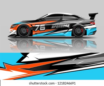 Super Car wrap design vector. Graphic abstract stripe racing background kit designs for Racing vehicles.