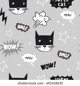 Super Cat. Cartoon print. Seamless pattern