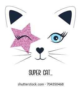 super cat and face cat illustration vector.
