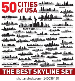 Super city skyline set. 50 vector city silhouettes of USA