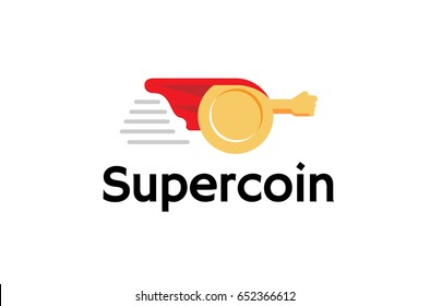 Super Coin comic abstract Mascot Logo Design Illustration