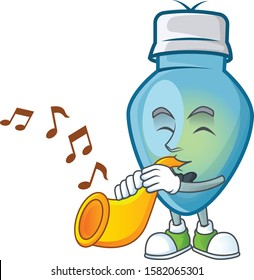 Super cool blue christmas bulb cartoon character performance with trumpet
