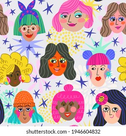 Super Cool and Bright Vector Seamless Pattern of Diversity Women's faces, stars and hand drawn letters. Girl Power Vector Pattern.