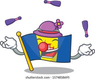 Super cool Juggling flag madeira mascot cartoon style
