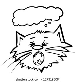 Super cries surprised cat. Screamed  kitty. infantile outline bawl sketch cat for coloring book. Cry out cat for print with present box. Doodle  yell cartoon  tom cat.  Holler meow