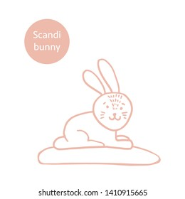 Super cute, adorable bunny in trendy Scandinavian style. Funny, hugge, hand drawn illustration for poster, banner, print, decoration kids playroom or greeting card.