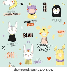 Super cute animal seamless pattern in vector. Trendy illustration with funny animals and cool typography. Color background. Panda, bear, zebra, penguin, dog. Scandinavian kids collection