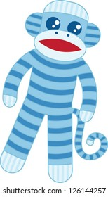 Super cute blue sock monkey based on the original classic toy with whimsical stripes and big googly eyes in the kawaii style.
