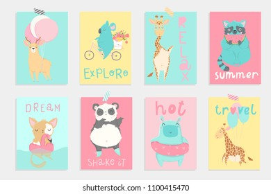 Super cute bright summer cards, posters, party invitations set with hand drawn cartoon animals. Perfect for fun kids tags, postcards. Pink, blue, yellow colors. Colorful editable vector illustration