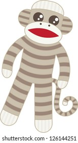 Super cute brown sock monkey based on the original classic toy with whimsical stripes and big googly eyes in the kawaii style.