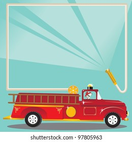 Super cute firetruck with dalmatian fireman with helmet and a fire hose blasts water to welcome you to a birthday party! Place on truck to put your child's age.
