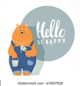 Super cute and funny cartoon bear in working overalls with a brush and paints. Character animal. Children's illustration. Stylish vector illustration