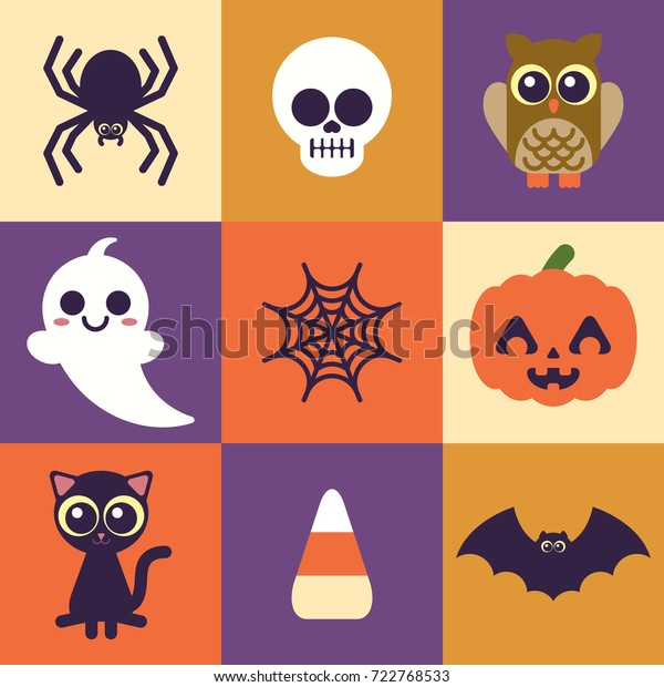 Super Cute Halloween Icons Easy Edit Stock Vector Royalty Free 722768533