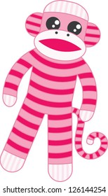 Super cute pink sock monkey based on the original classic toy with whimsical stripes and big googly eyes in the kawaii style.