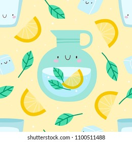 Super cute seamless pattern with Lemonade, Mint and Lemons. Abstract vector texture with Glass of water and Jar of Lemonade. Summer drink background.