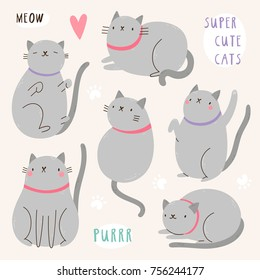Super cute set of vector Cat characters. Grey Cat illustration. Funny animal collection with cats and paw prints.