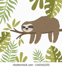 Super cute sloth. Vector print