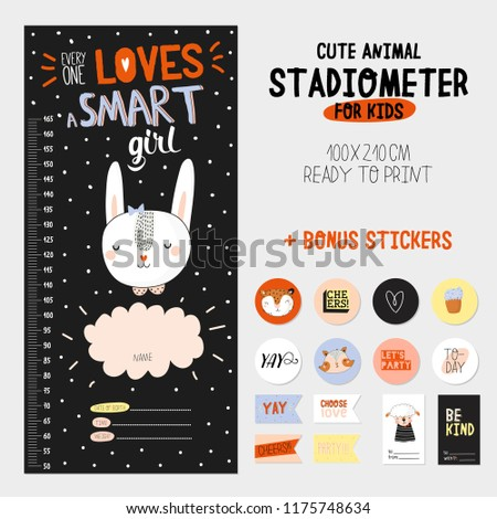 super cute stadiometer set in vector funny animal illustration stickers and memo pads
