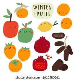 Super cute vector seasonal Fruits collection. Hand drawn Food in cartoon style. Winter Fruits set.