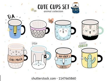 Super cute vector set of funny illustration a coffee cups. Animal cartoon illustration. Isolated on white backgrond.