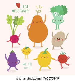 Super cute Vegetables characters. Vector illustration with Pumpkin, Potato, Tomato, Pepper, Radish, Broccoli and Bell Pepper. Eat vegetables fun background.