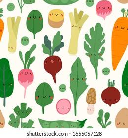 Super cute Vegetables vector pattern. Spring seasonal vegetables in cartoon childish style - Carrot, Beet, Arugula, Radish, Potato, Morel, Spinach, Sweet peas, Leek. Fresh organic food background.