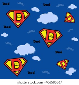Super Dad design and mustaches flying in the sky pattern