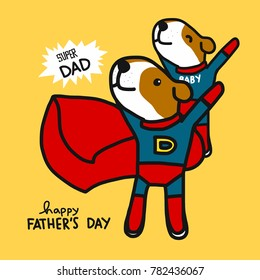 Super dad dog Happy father's day cartoon vector illustration