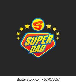 Super Dad emblem. Super hero logo. Vector illustration