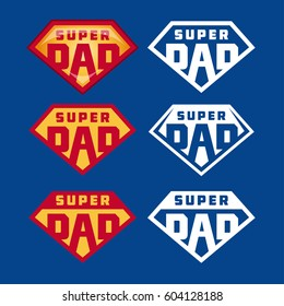 Super dad emblems labels prints set. Hand crafted typography t-shirt design. Vector vintage illustration.