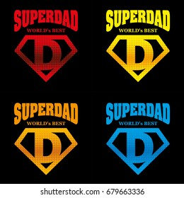 Super Dad hero Logo Supehero Letters