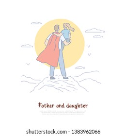 Super dad holding kid in arms back view, young man in cloak with child, parent superhero, happy fatherhood banner