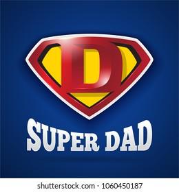 Super Dad Logo Design For Father's Day. Letter D logo in Diamond Shape.Vector illustration
