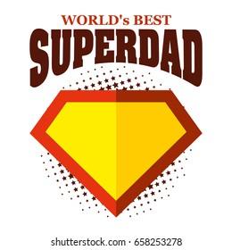 Super dad logo superhero World's best Vector illustration T-shirt