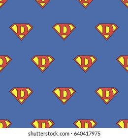 Super Dad. Seamless kids pattern with super hero