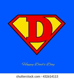 Super dad shield on blue background. Vector illustration. Use for father' day card.