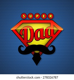 Super dad shield in pop art style. Vector illustration. Fathers day design.