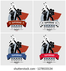 Super daddy or superdad logo design. Vector artwork of a father being a superhero taking care of his baby, while the wife is happy.
