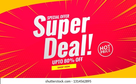 Super deal sale banner background red.Vector design