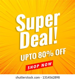 Super deal sale banner yellow background .Vector design