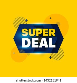 Super Deal Text with yellow and Blue background