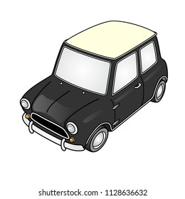Super deformed cute vintage mini car vector.