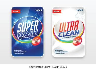 super detergent labels in blue and white colors