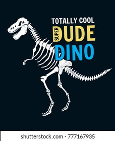 Super dinosaur skeleton illustration for t-shirt print and other uses