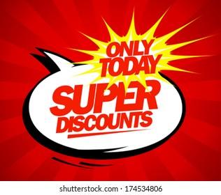 Super discounts design in pop-art style.
